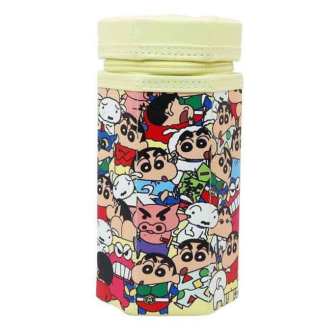 六角拉鍊筆袋 蠟筆小新 全人物 Crayon Shin Chain 立體拉鍊筆袋 日本進口正版授權