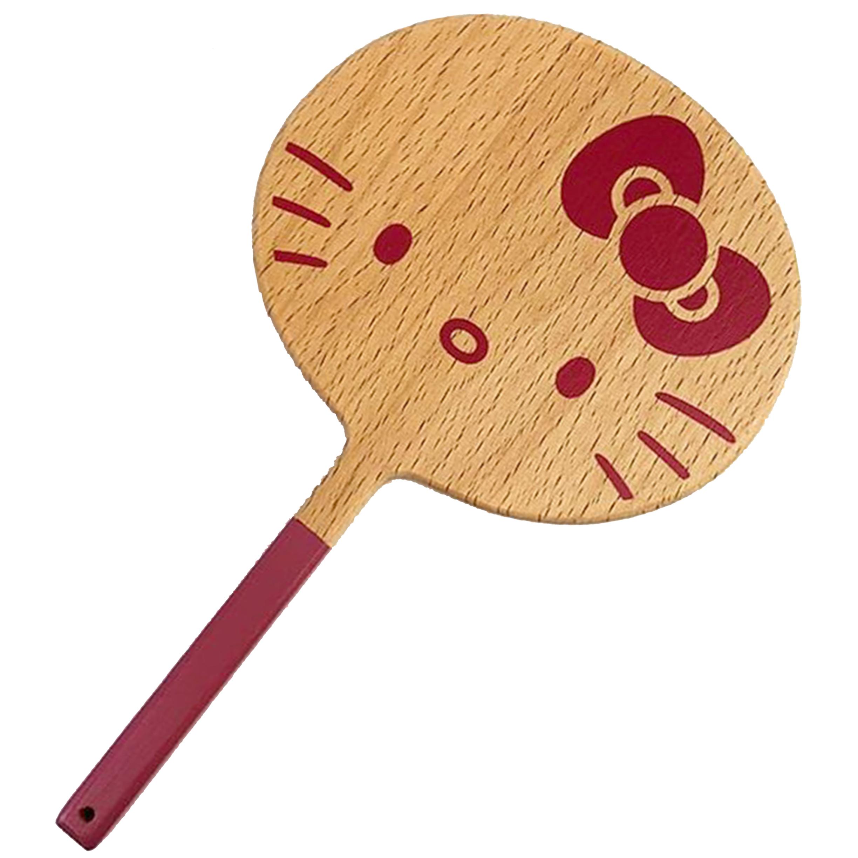 木質圓形手拿鏡-KITTY 凱蒂貓 Nichigan 三麗鷗 Sanrio 日本進口