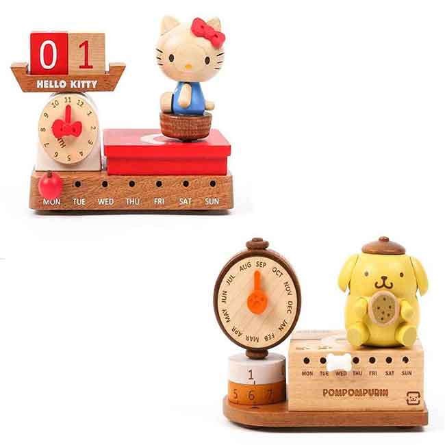 萬年曆音樂鈴 三麗鷗 KITTY 布丁狗 體重計 磅秤 造型萬年曆 正版授權