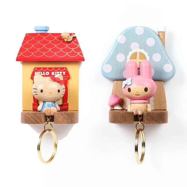 木質鑰匙架 三麗鷗 KITTY 美樂蒂 鑰匙掛勾 鑰匙圈 吊飾 正版授權