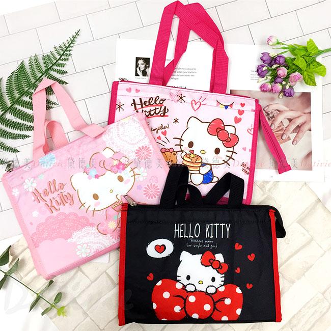 方形保溫保冷提袋 三麗鷗 Sanio Hello Kitty 桃色 粉色 黑色 共3款 便當袋 手提袋 野餐袋 正版授權