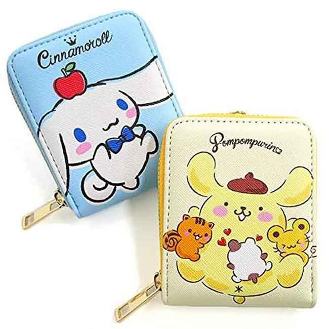 直式皮質票卡零錢包 三麗鷗 布丁狗 大耳狗 拉鍊卡夾 日本進口正版授權