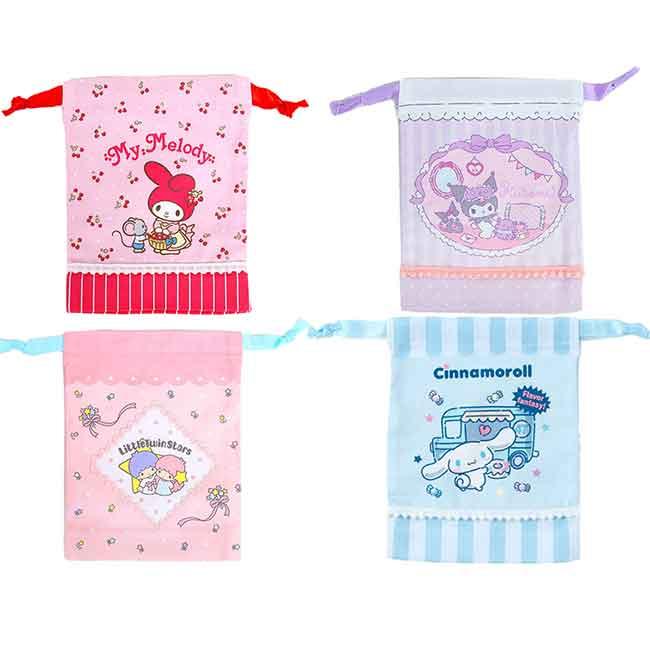 迷你棉質縮口袋 日本 三麗鷗 美樂蒂 kikilala 大耳狗 酷洛米 束口袋 日本進口正版授權