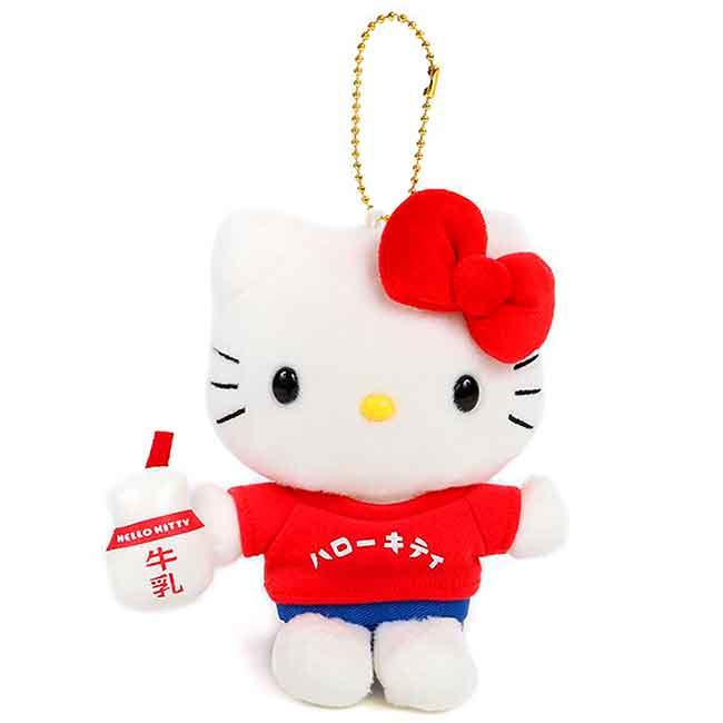 絨毛娃娃吊飾 三麗鷗 HELLO KITTY 凱蒂貓 牛乳 玩偶 日本進口正版授權
