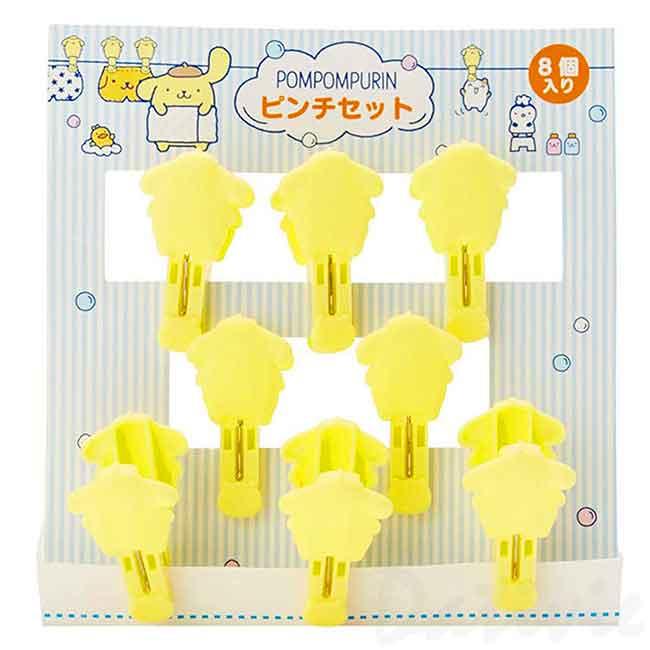 造型塑膠曬衣夾組 三麗鷗 布丁狗 POMPOMPURIN 8入 造型夾 日本進口正版授權