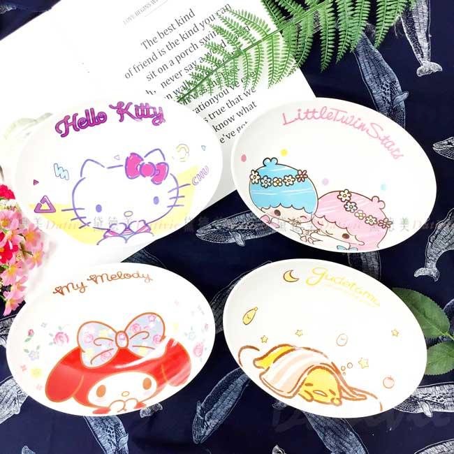 陶瓷深盤 三麗鷗 雙子星 蛋黃哥 美樂蒂 HELLO KITTY 盤子 正版授權