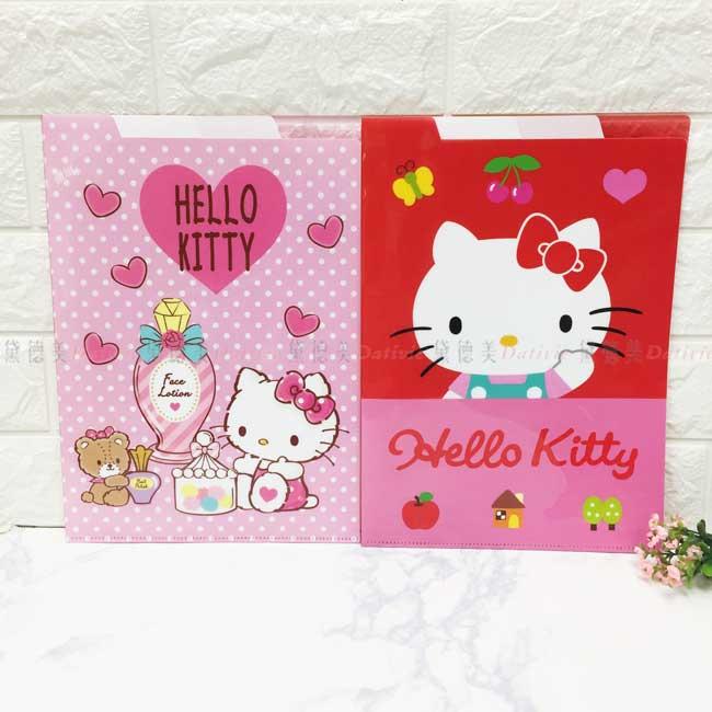 上開三層L型夾 三麗鷗 Hello Kitty 資料夾 文件夾 正版授權