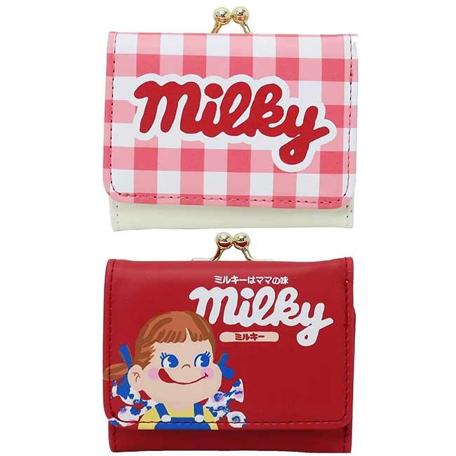 皮質口金短夾 三麗鷗 PEKO MILKY 不二家 皮夾 日本進口正版授權