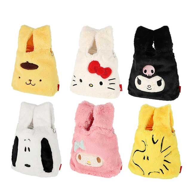 絨毛刺繡提袋 三麗鷗 凱蒂貓 布丁狗 糊塗塔克 史努比 造型提包 日本進口正版授權
