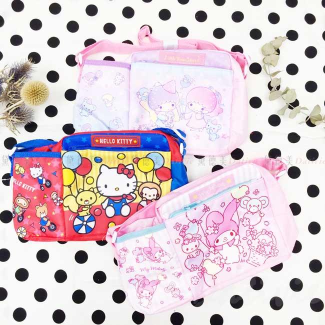 側背包附水壺袋 三麗鷗 雙子星 美樂蒂 Hello Kitty 斜背包 日本進口正版授權