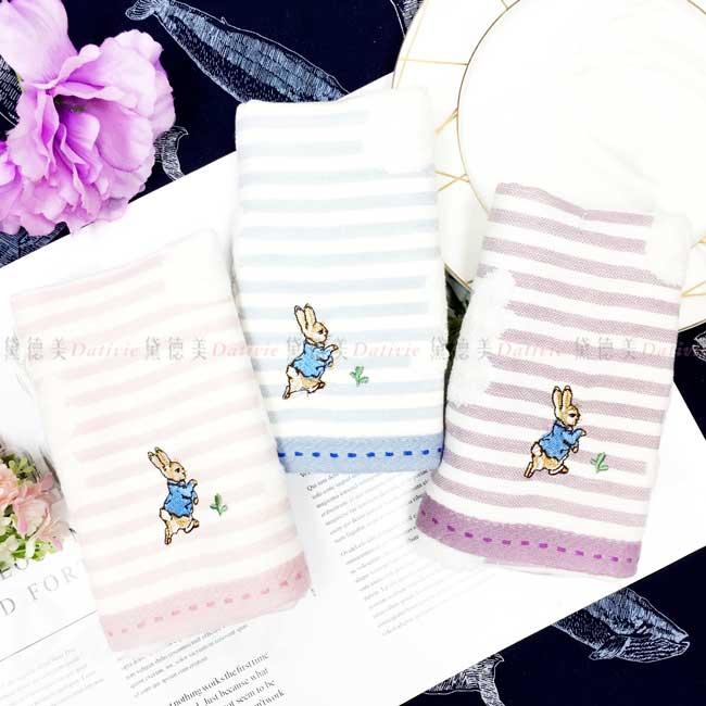 紗布無捻精繡橫條紋童巾 彼得兔 Peter Rabbit 毛巾 正版授權