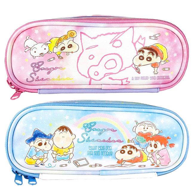 皮質掀蓋雙層拉鍊筆袋 蠟筆小新 彩繪風 塗鴉風 漸層風 粉色 藍色 2款 皮質筆袋 鉛筆盒 鉛筆袋 日本進口正版授權