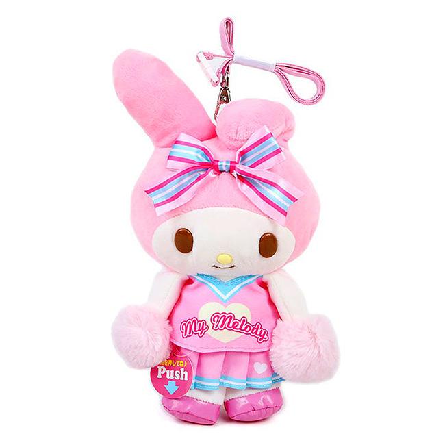 動動絨毛玩偶附頸吊繩 三麗鷗 美樂蒂 應援啦啦隊 娃娃 吊飾 日本進口正版授權