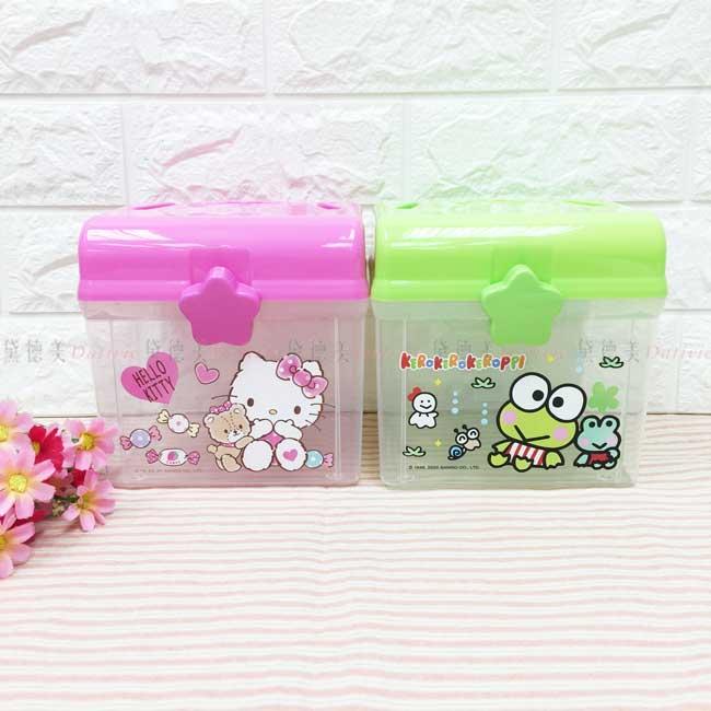 大手提置物盒 三麗鷗 KITTY 大眼蛙 透明收納盒 正版授權