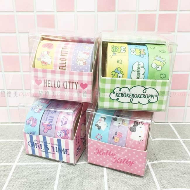 裝飾膠帶 三麗鷗 KITTY 大眼蛙 3入盒裝 紙膠帶 正版授權
