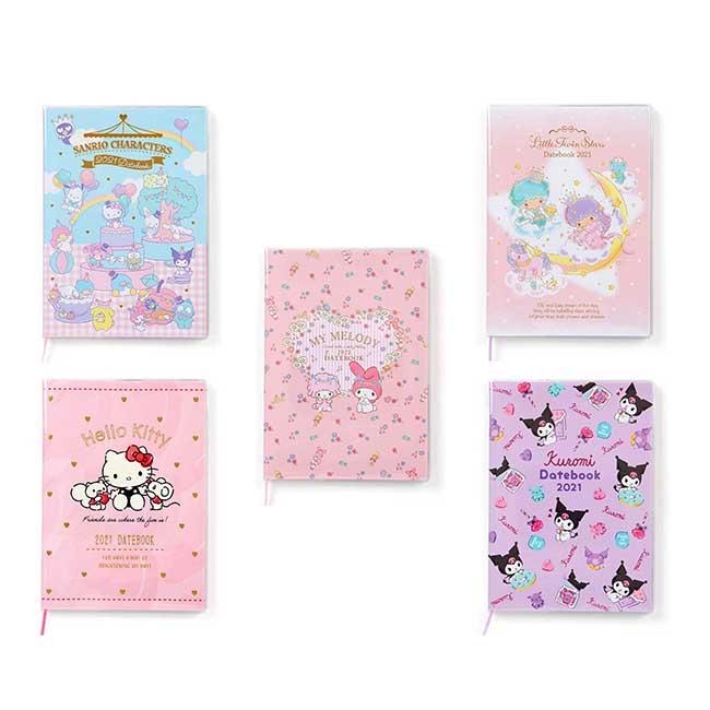 2021月間手帳 日本 三麗鷗 B6-凱蒂貓 雙子星 美樂蒂 酷洛米 大集合 年曆手冊 日本進口正版授權