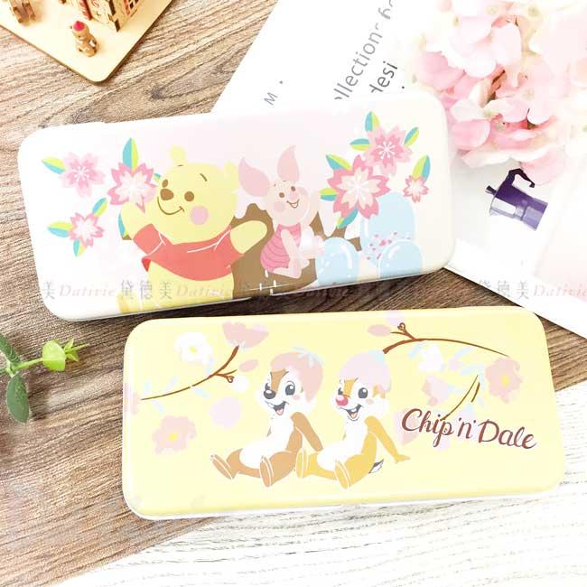 雙層鐵筆盒 迪士尼 小熊維尼 奇奇蒂蒂 櫻花系鉛筆盒 正版授權