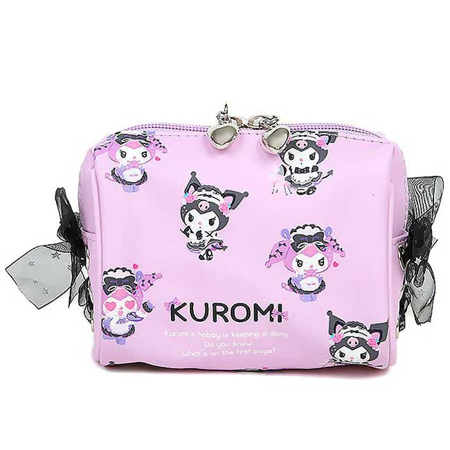 雙拉鍊皮質化妝包 三麗鷗 酷洛米 KUROMI 收納包 日本進口正版授權