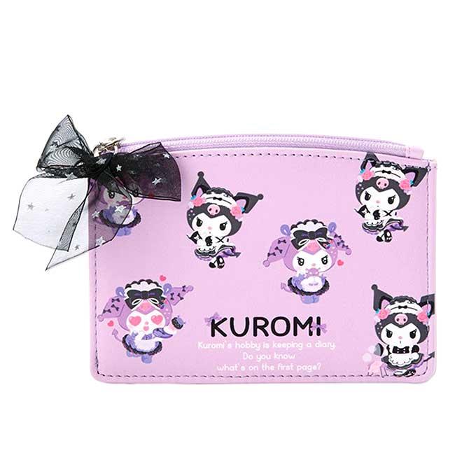 皮質卡片零錢包 三麗鷗 酷洛米 KUROMI 卡夾 日本進口正版授權
