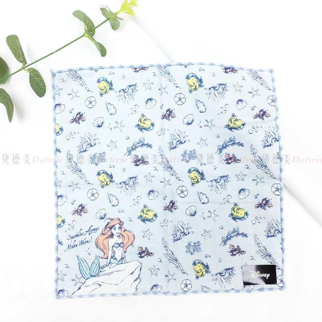 純棉方巾 日本 迪士尼 DISNEY 小美人魚 毛巾 日本進口正版授權