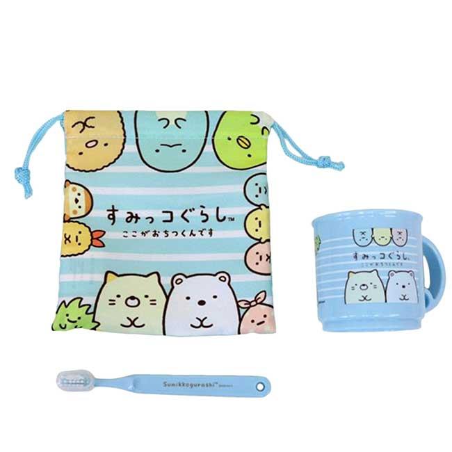 牙刷旅行組附束口袋 日本 san-x 角落生物 盥洗組 日本進口正版授權
