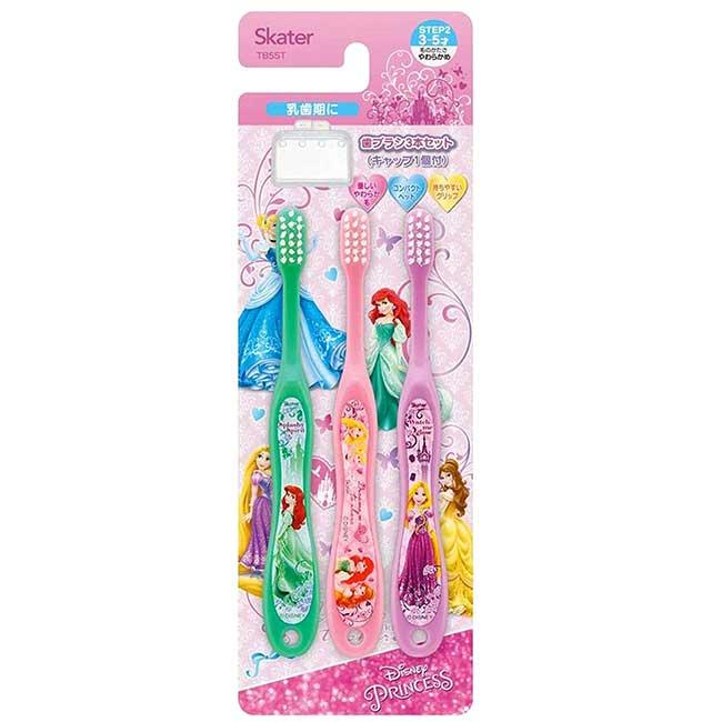 兒童牙刷 3入附牙刷蓋 迪士尼 公主系列 Princess 3~5歲 幼童牙刷 日本進口正版授權