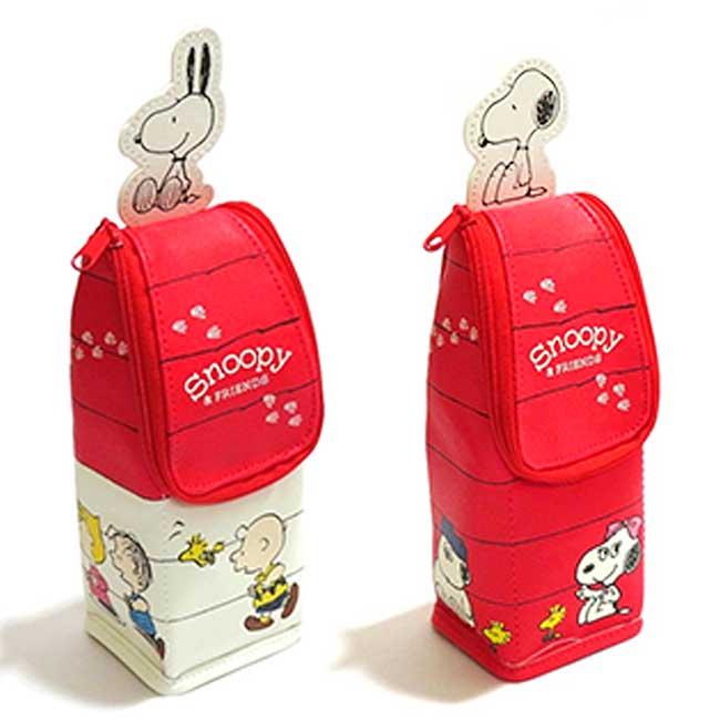 直立皮質拉鍊筆袋 史努比 SNOOPY PEANUTS 造型筆袋 日本進口正版授權