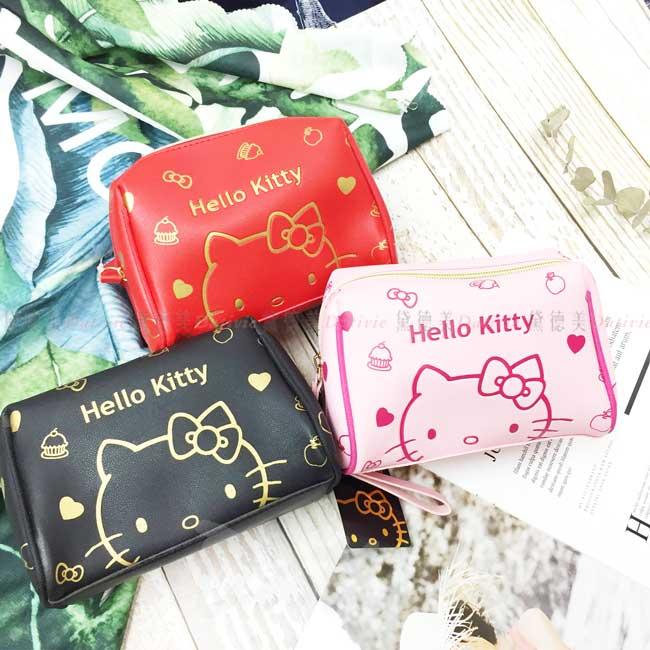 手拿萬用包 三麗鷗 凱蒂貓 HELLO  KITTY 化妝包 正版授權