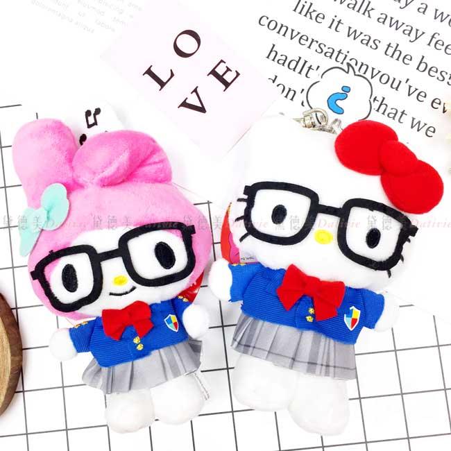 眼鏡造型公仔吊飾 三麗鷗 凱蒂貓 美樂蒂 HELLO KITTY 小娃娃 日本進口正版授權