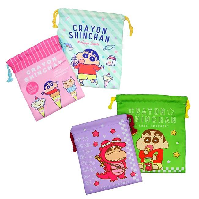 棉質束口袋 蠟筆小新 Crayon Shin Chain 2入組 收納束口袋 日本進口正版授權