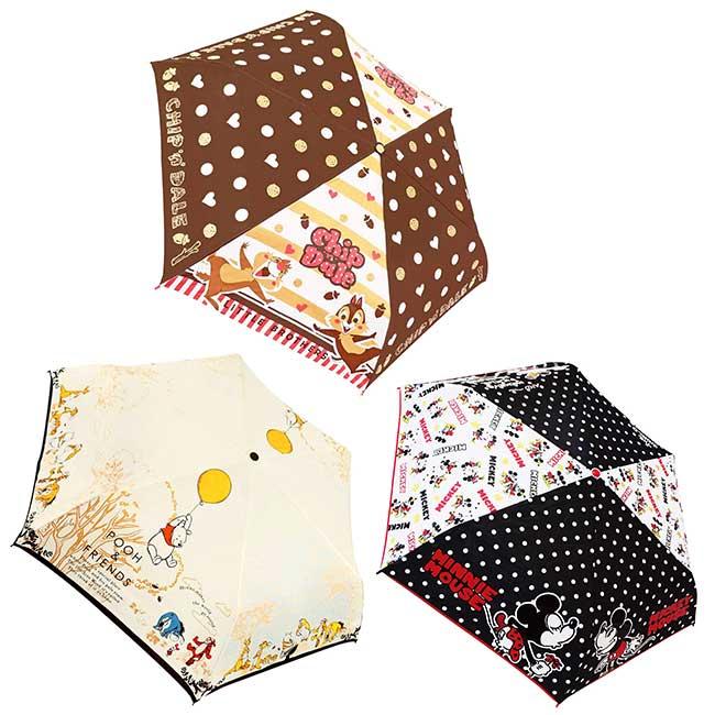彎把抗風手動摺疊傘 迪士尼 小熊維尼 奇奇蒂蒂 米奇 短摺疊傘 日本進口正版授權