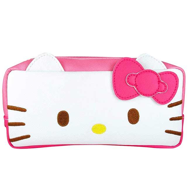 皮質造型筆袋 三麗鷗 凱蒂貓 HELLO KITTY 拉鍊筆袋 日本進口正版授權