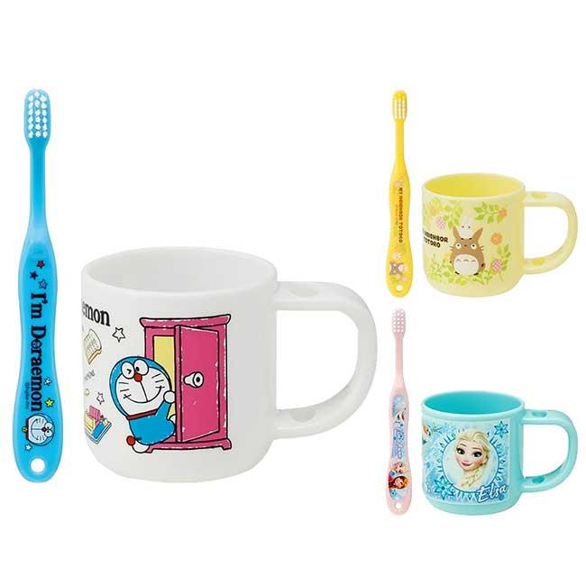 塑膠牙刷杯組附牙刷蓋 哆啦A夢 豆豆龍 冰雪奇緣 幼童牙刷杯組 日本進口正版授權
