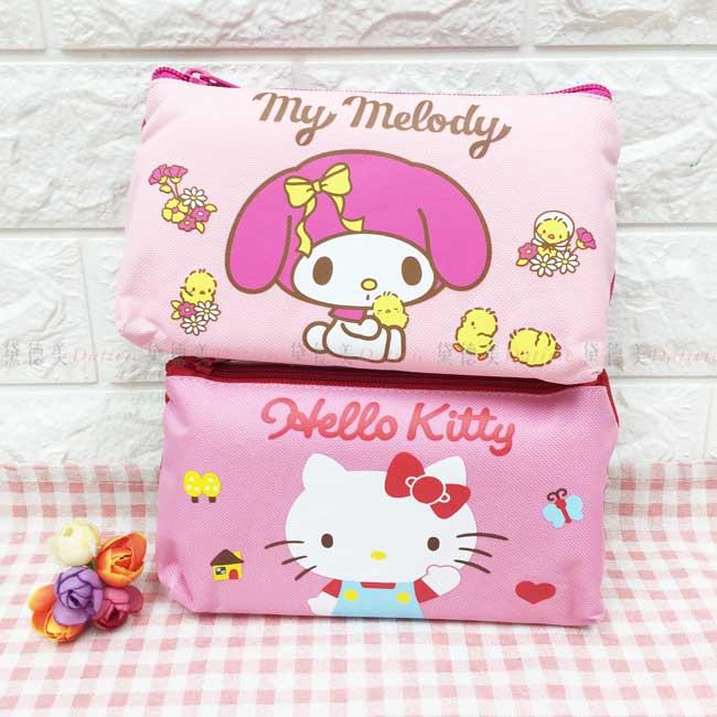 帆布手提筆袋 三麗鷗 凱蒂貓 美樂蒂 拉鍊筆袋 正版授權