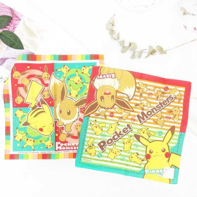 純棉方手帕 日本 皮卡丘 神奇寶貝 寶可夢 POKEMON 擦汗巾 日本進口正版授權