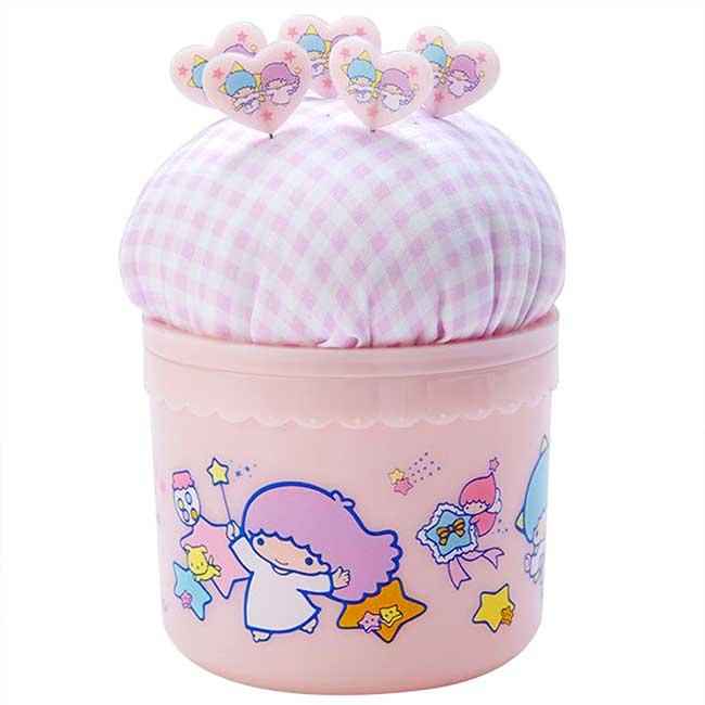 圓形拿蓋針墊縫紉收納盒 三麗鷗 雙子星 kikilala 飾品盒附針包 日本進口正版授權