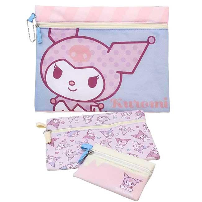帆布扁平收納包組 三麗鷗 酷洛米 KUROMI 化妝包 日本進口正版授權