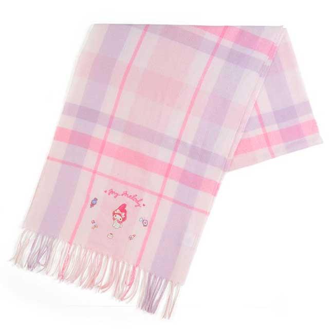 短絨流蘇披肩保暖圍巾 三麗鷗 美樂蒂 MY MELODY 格紋圍巾 日本進口正版授權
