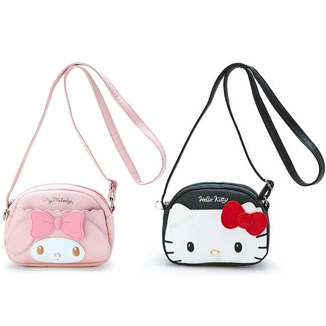 造型皮質斜背包 三麗鷗 凱蒂貓 美樂蒂 KITTY 造型臉包包 日本進口正版授權