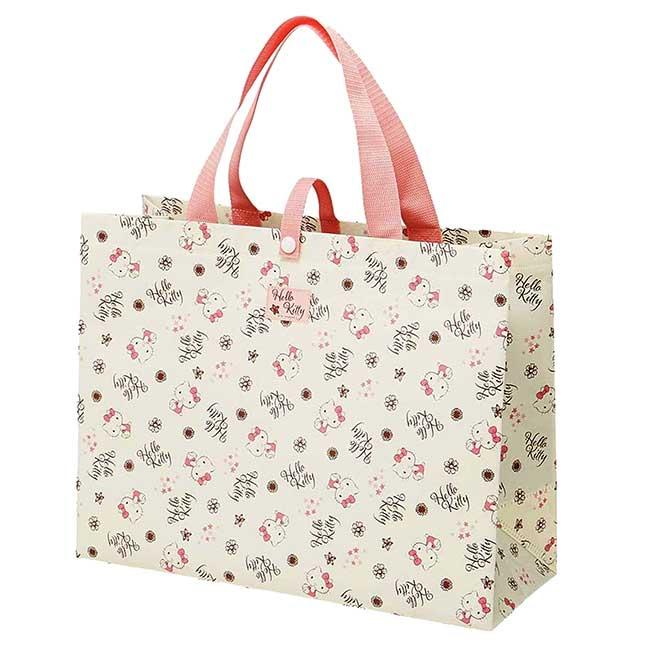 不織布橫式方形購物袋 三麗鷗 凱蒂貓 KITTY 提袋 日本進口正版授權