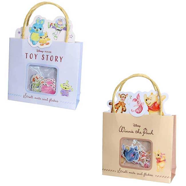 造型貼紙附小提袋 迪士尼 皮克斯 玩具總動員 小熊維尼 貼紙組 日本進口正版授權