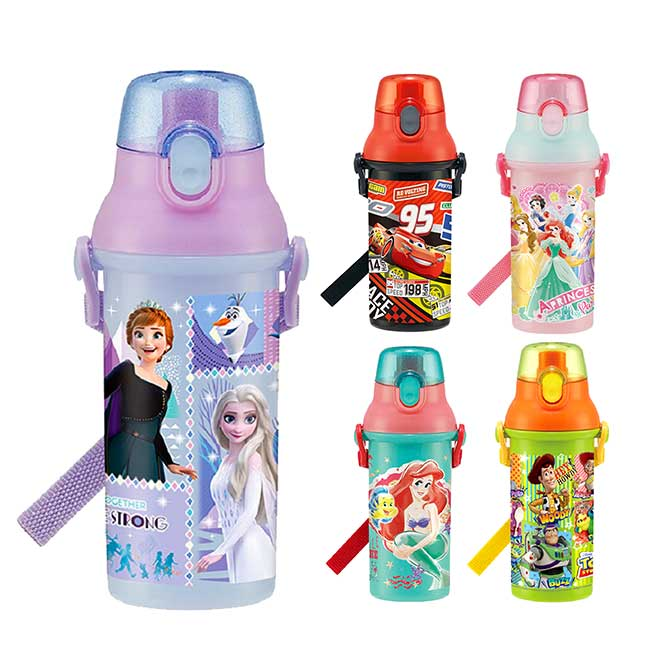 直飲式水壺 日本 迪士尼 皮克斯 玩具總動員 汽車總動員 小美人魚 公主系列 冰雪奇緣 背帶水壺 日本進口正版授權