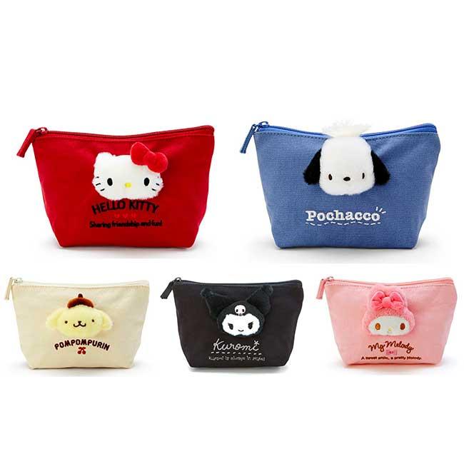 船形純棉帆布化妝包 三麗鷗 凱蒂貓 美樂蒂 布丁狗 酷洛米 帕洽狗 萬用包 日本進口正版授權