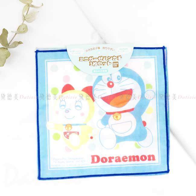 純棉紗布方巾3入 日本 三麗鷗 哆啦A夢 BANDAI DORAEMON 手帕 日本進口正版授權