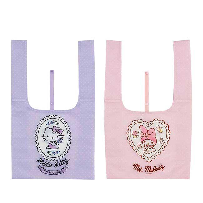 折疊尼龍環保購物袋 三麗鷗 凱蒂貓 美樂蒂 KITTY MY MELODY 環保袋 日本進口正版授權
