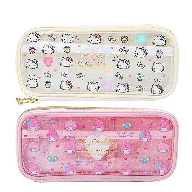 全開式雙層防水拉鍊透明筆袋 三麗鷗 美樂蒂 KITTY Sanrio Original 收納袋 日本進口正版授權