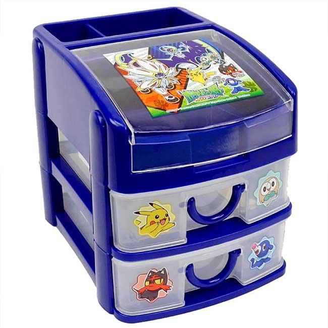 桌上型雙層收納櫃 皮卡丘 神奇寶貝 寶可夢 POKEMON 收納盒 日本進口正版授權