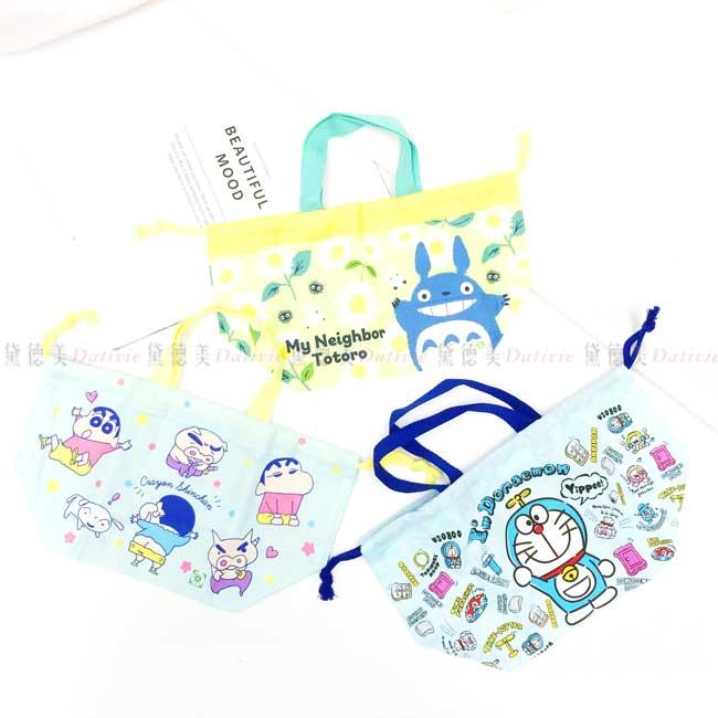 棉質束口提袋 日本 蠟筆小新 sanrio 哆啦A夢 收納袋 日本進口正版授權