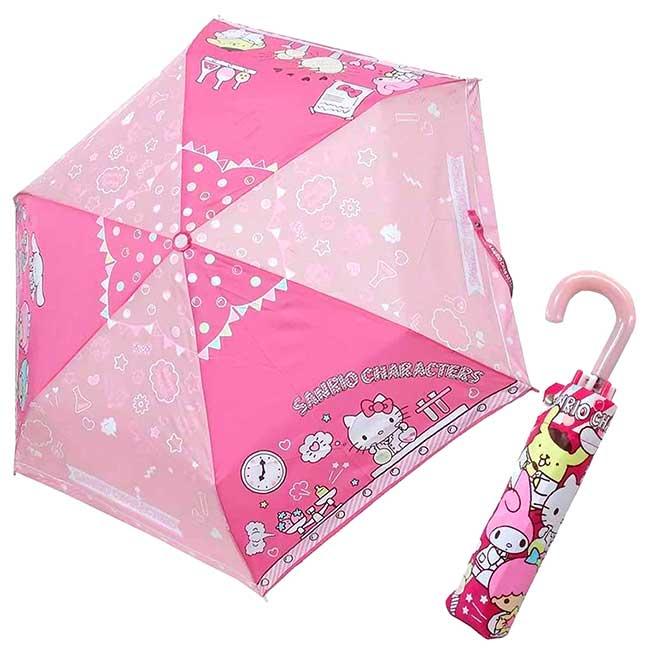 彎把抗風手動摺疊傘 三麗鷗 KITTY 布丁狗 kikilala 美樂蒂 摺疊雨傘 日本進口正版授權