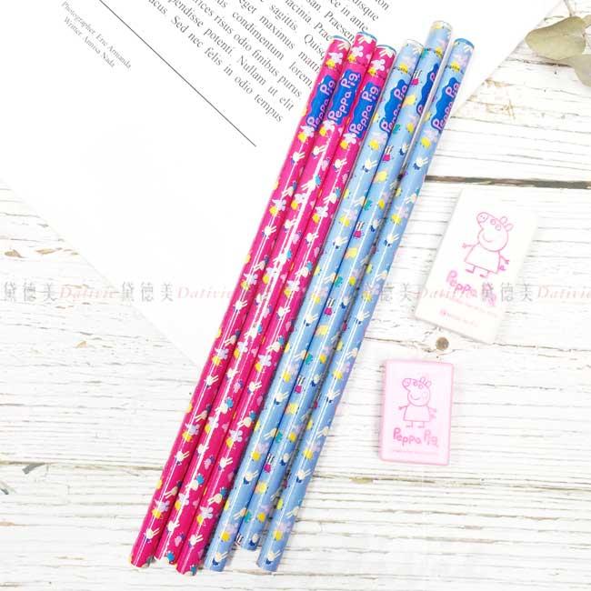 木頭鉛筆 附橡皮擦 粉紅豬小妹 佩佩豬 削筆器 正版授權
